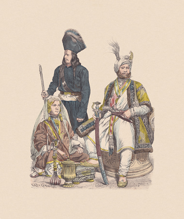 19th century, Central Asian costumes, hand-colored wood engraving, published c1880