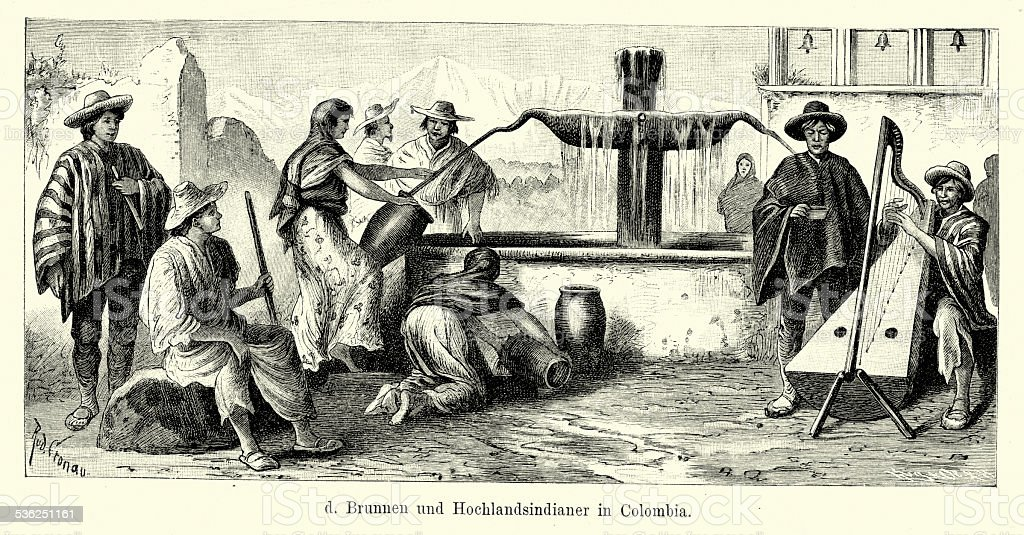 19th Century Colombia Fountain And Highland Indians Stock