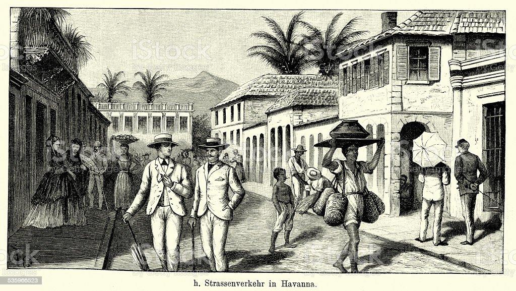 19th Century Cuba - Street scene in Havana vector art illustration