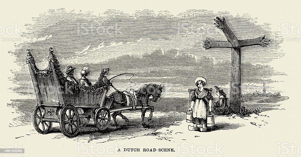 19th Century Dutch Road Scene Stock Vector Art & More Images of 1850 ...