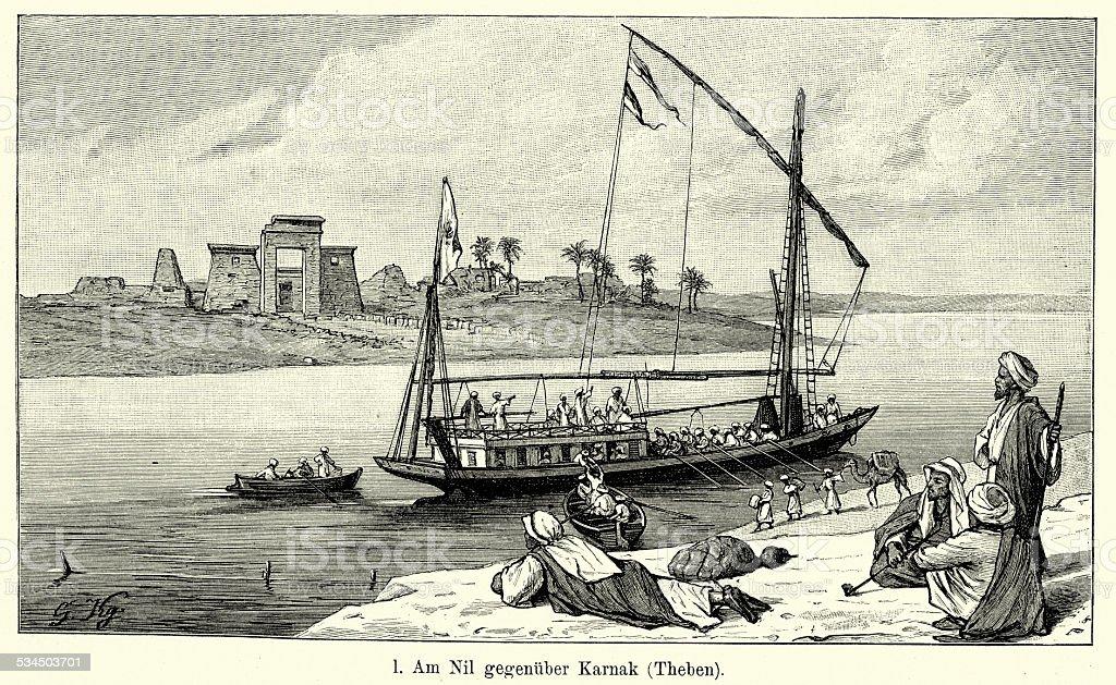 19th Century Egypt - On the Nile opposite Karnak vector art illustration