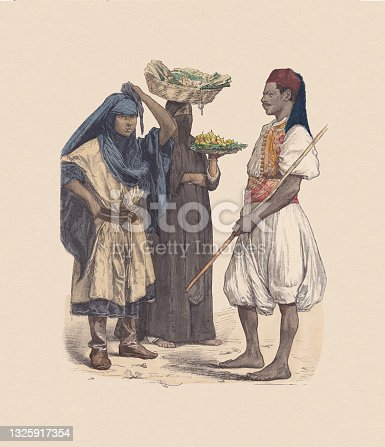 istock 19th century, Egyptian costumes, hand-colored wood engraving, published ca. 1880 1325917354