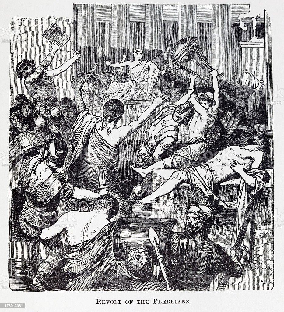 19th century engraving about revolt of plebeians vector art illustration
