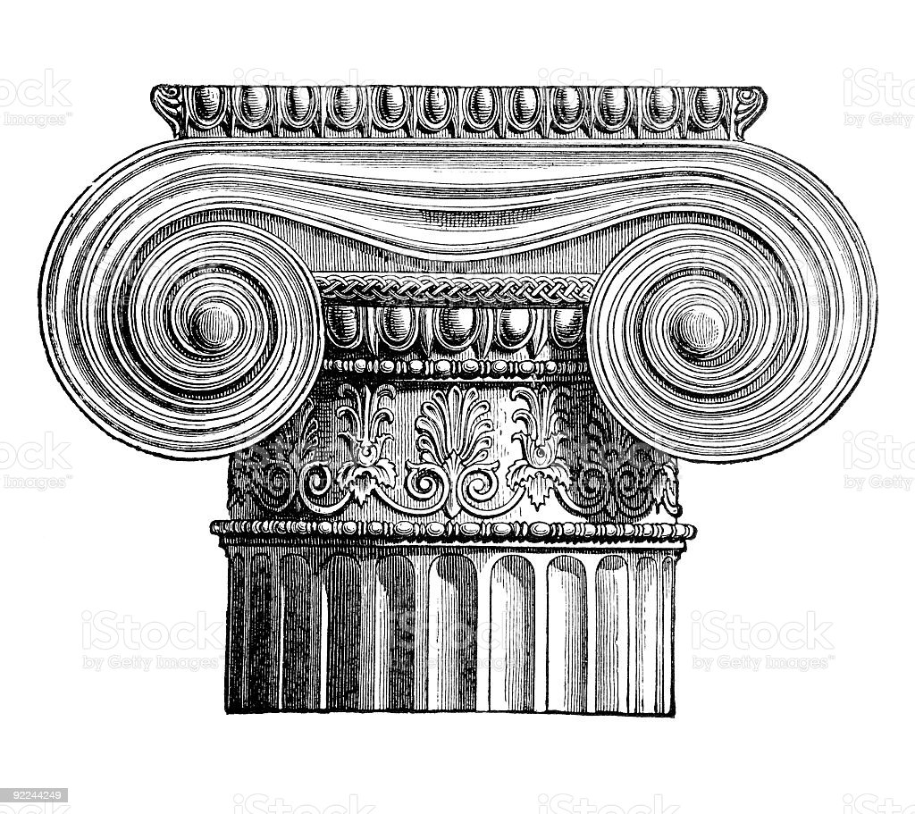 19th century engraving depicting a Classical Greek Ionic pillar vector art illustration
