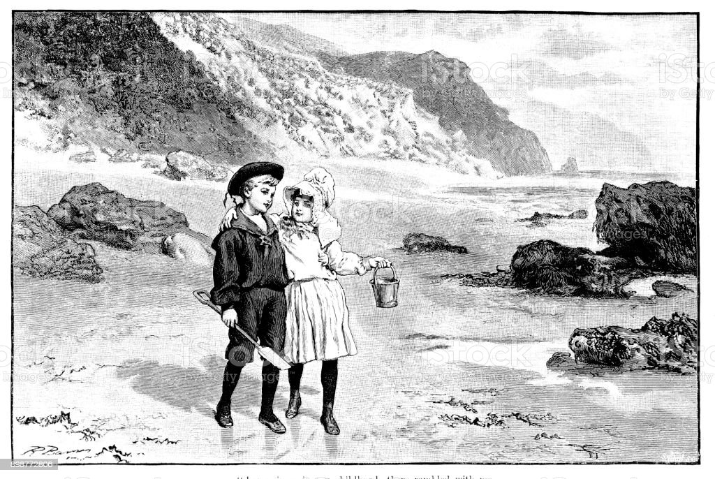 19th century engraving of a boy and girl in traditional victorian dress on a beach; Victorian children and seasides 1890 vector art illustration
