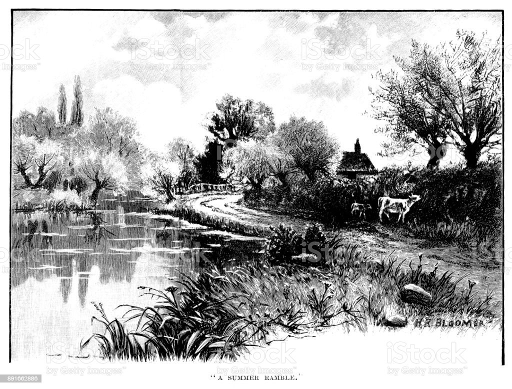 19th century engraving of a countryside scene a footpath runs alongside a village pond; Victorian rural scenes 1890 vector art illustration