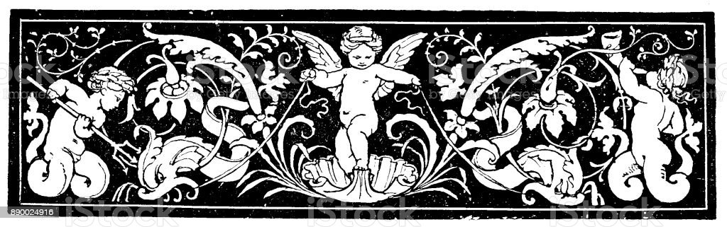 19th century engraving of a decorative page header; Depicts cherubs set against a dark background; Decorative Victorian page/book illustrations  1890 vector art illustration