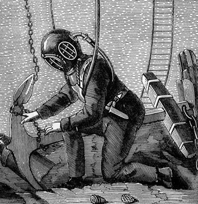 19th century engraving of a deep sea diver