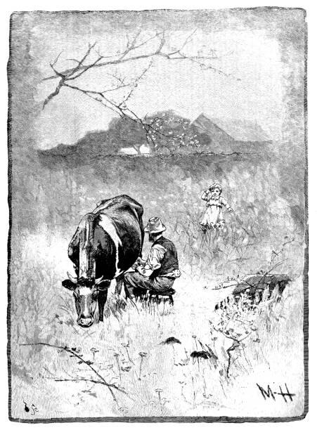 19th century engraving of a farmer sat in a field milking a cow; Victorian farming and rural scenes 1890 vector art illustration