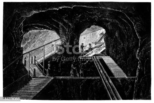 istock 19th century engraving of a graphite mine 184278355