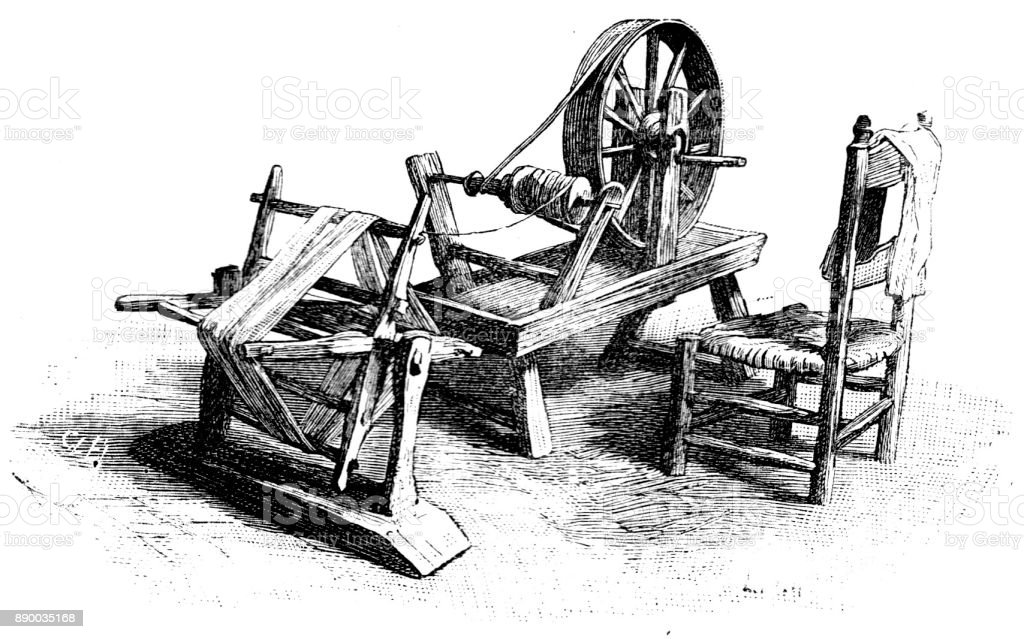19th century engraving of a home weavers equipment; Victorian cottage industries, weaving, spinning wheel, loom, chair,  1890 vector art illustration
