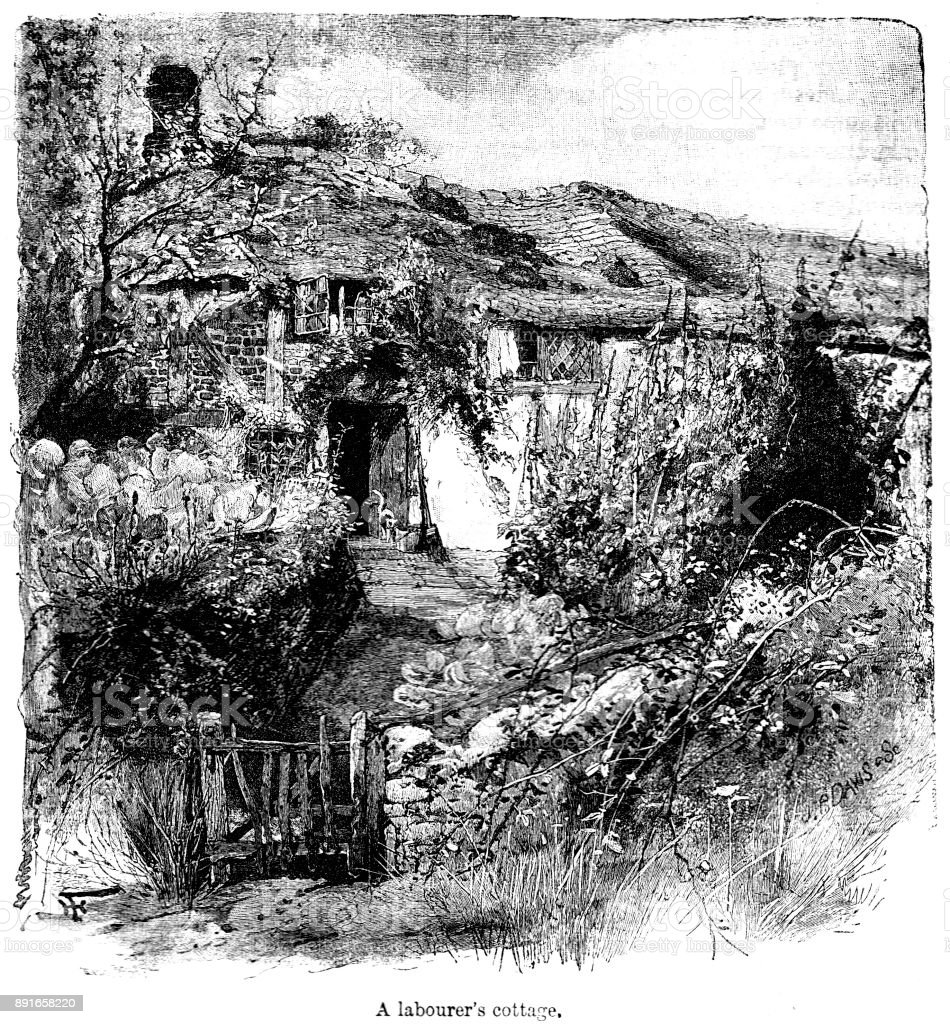 1800 S Colonial Scene On Demand: 19th Century Engraving Of A Labourers Cottage In A