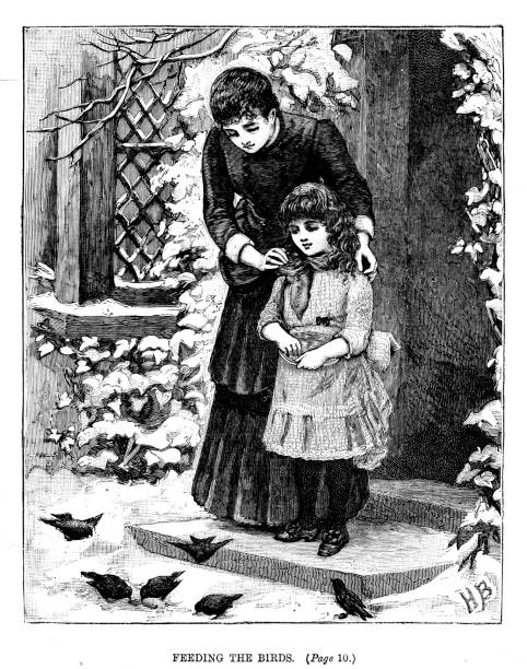 19th century engraving of a mother and her daughter stood on the doorstep feeding the birds in the snow; Victorian families 1889 vector art illustration