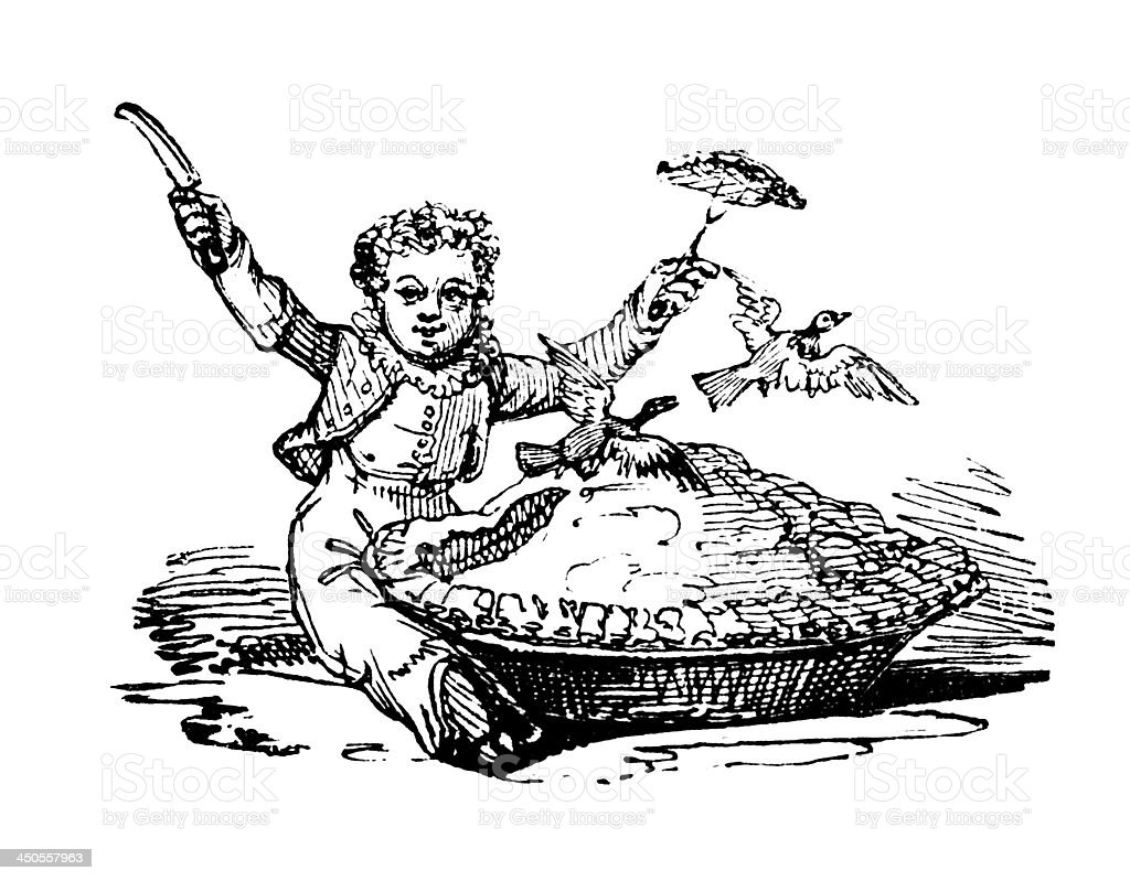 19th century engraving of a pigeon pie story vector art illustration