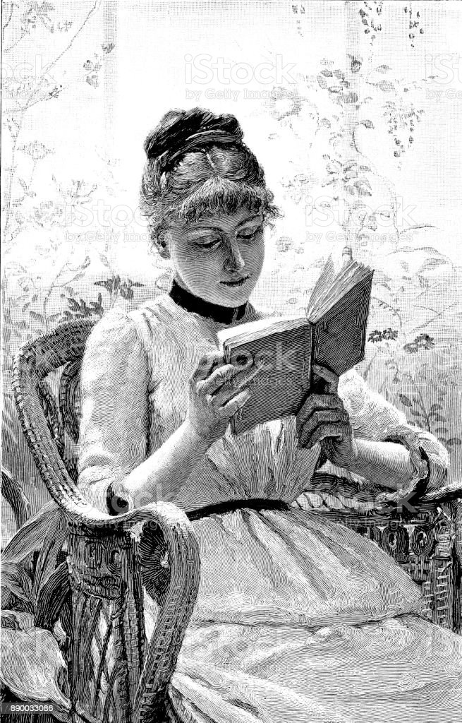 19th century engraving of a pretty young lady sat in a wicker chair reading her book; Victorian women and literature 1890 vector art illustration