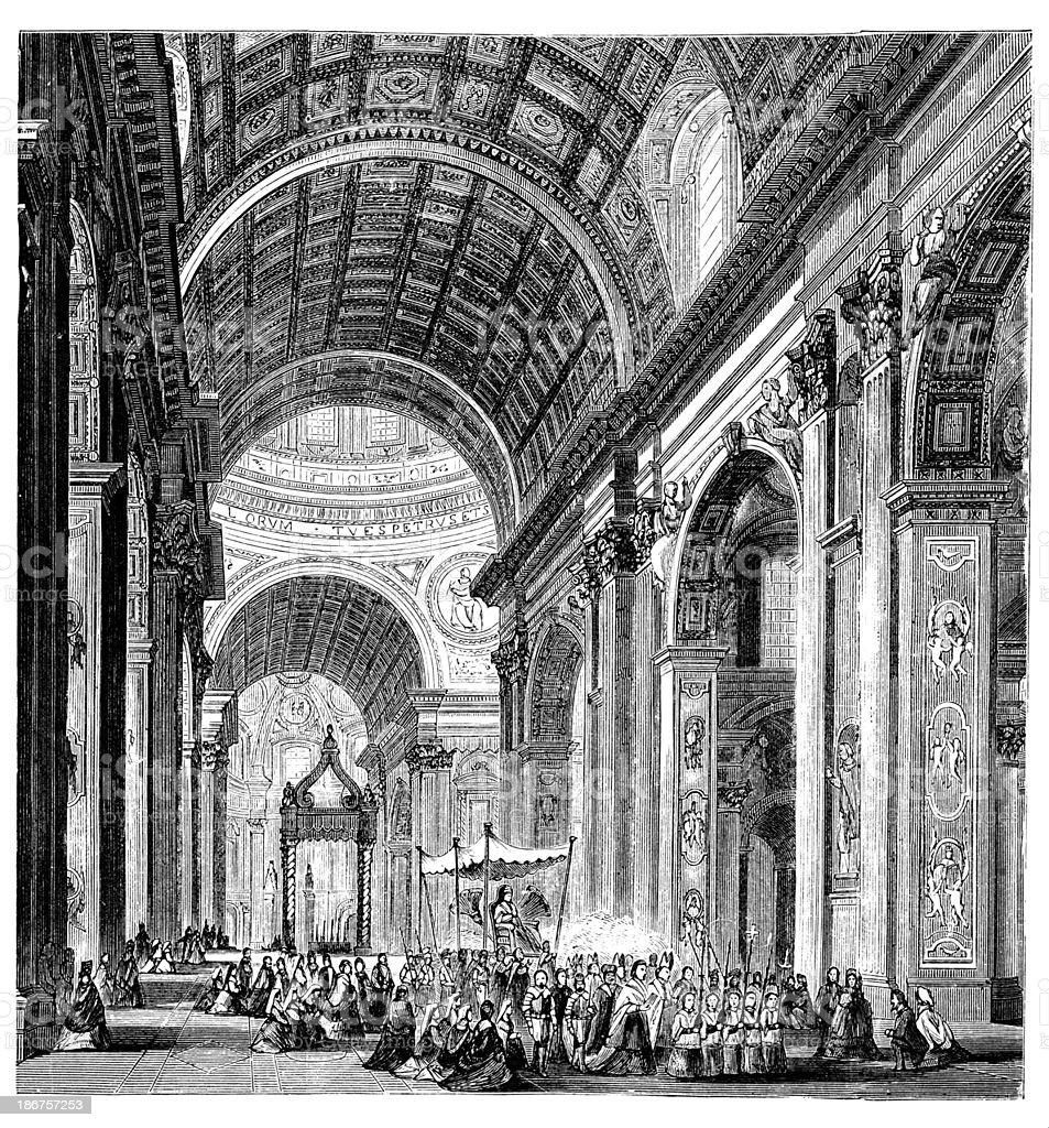 Século 19, entalhes de um desfile na Basílica de São Pedro, - ilustração de arte em vetor