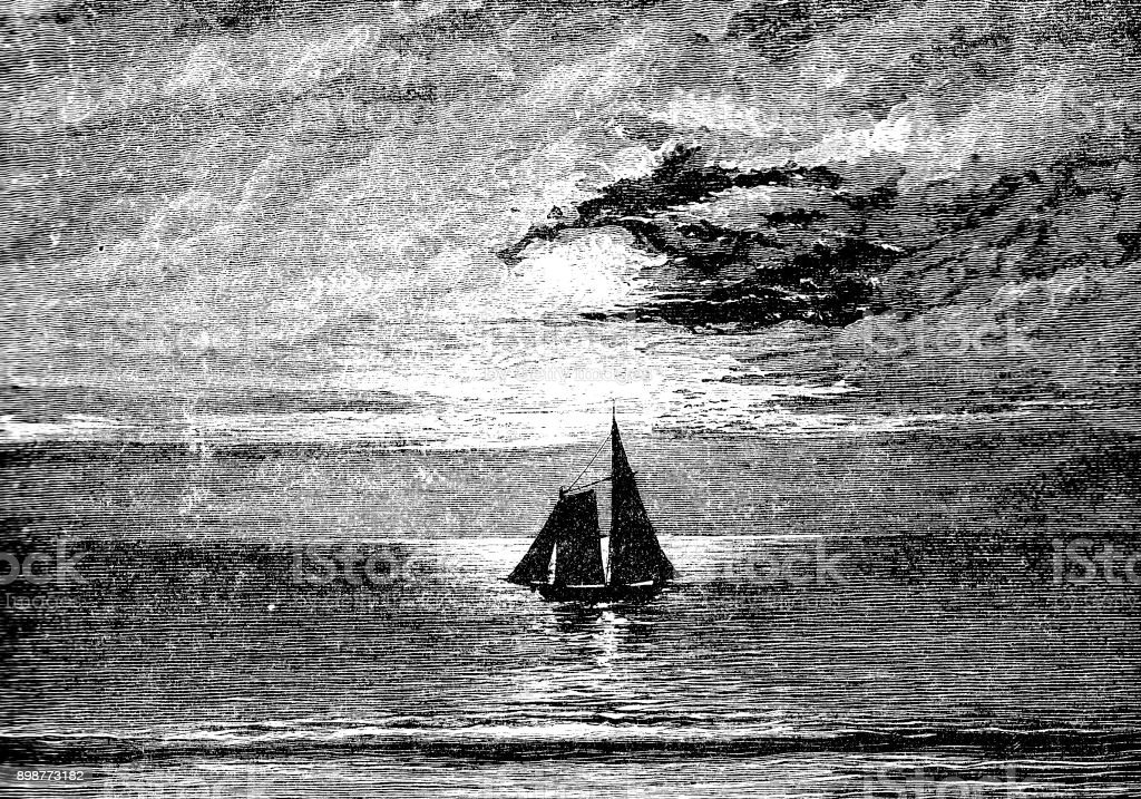19th century engraving of a sailing boat set in a dark scene; Victorian seascapes 1890 vector art illustration