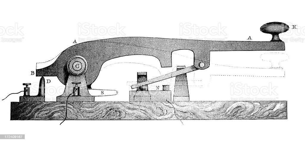 19th Century Engraving Of A Telegraph Machine Or Morse ...  19th Century En...