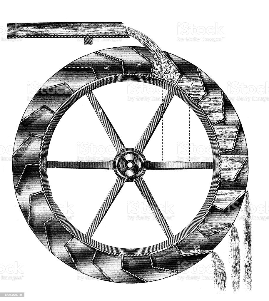 19th century engraving of a water wheel vector art illustration