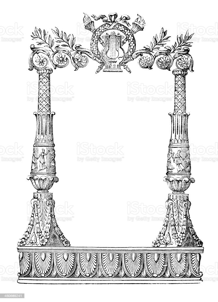 19th century engraving of an ornate book decoration royalty-free stock vector art