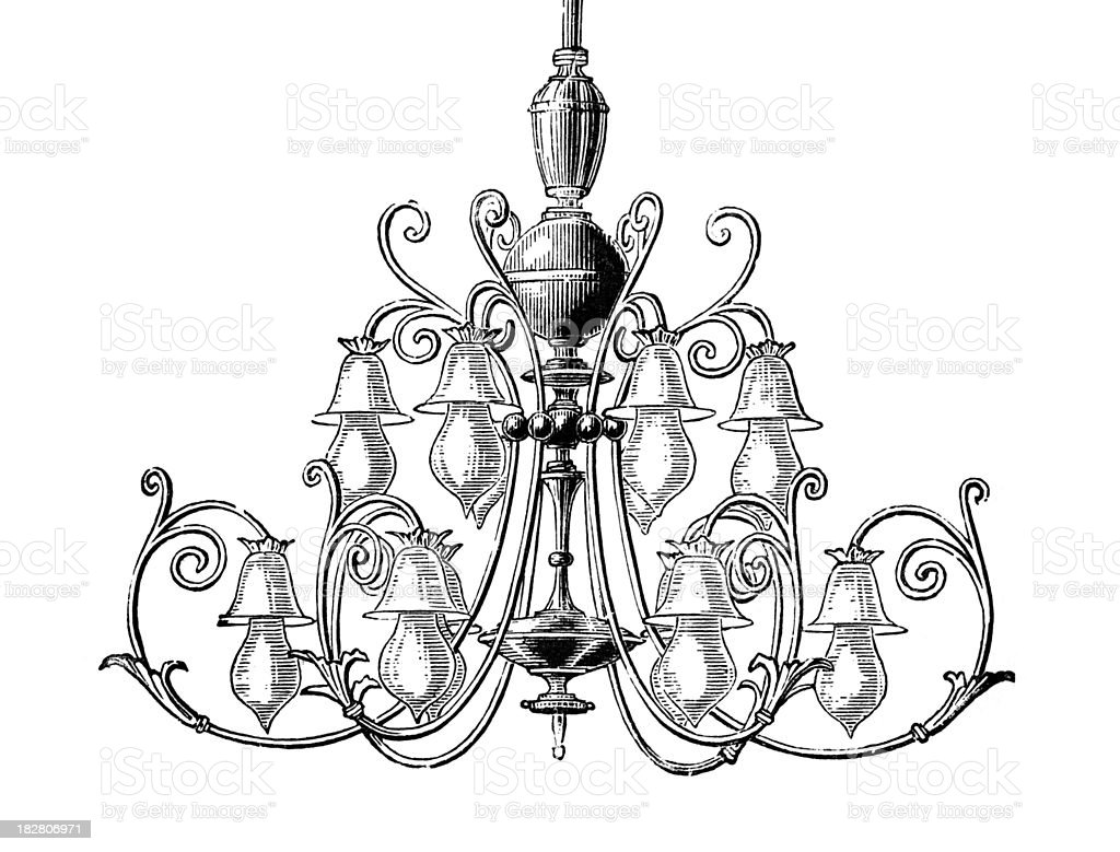 19th century engraving of an ornate chandelier stock vector art 19th century engraving of an ornate chandelier royalty free 19th century engraving of an ornate aloadofball Choice Image