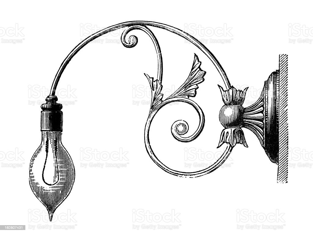 19th Century Engraving Of An Ornate Wall Lamp Royalty Free
