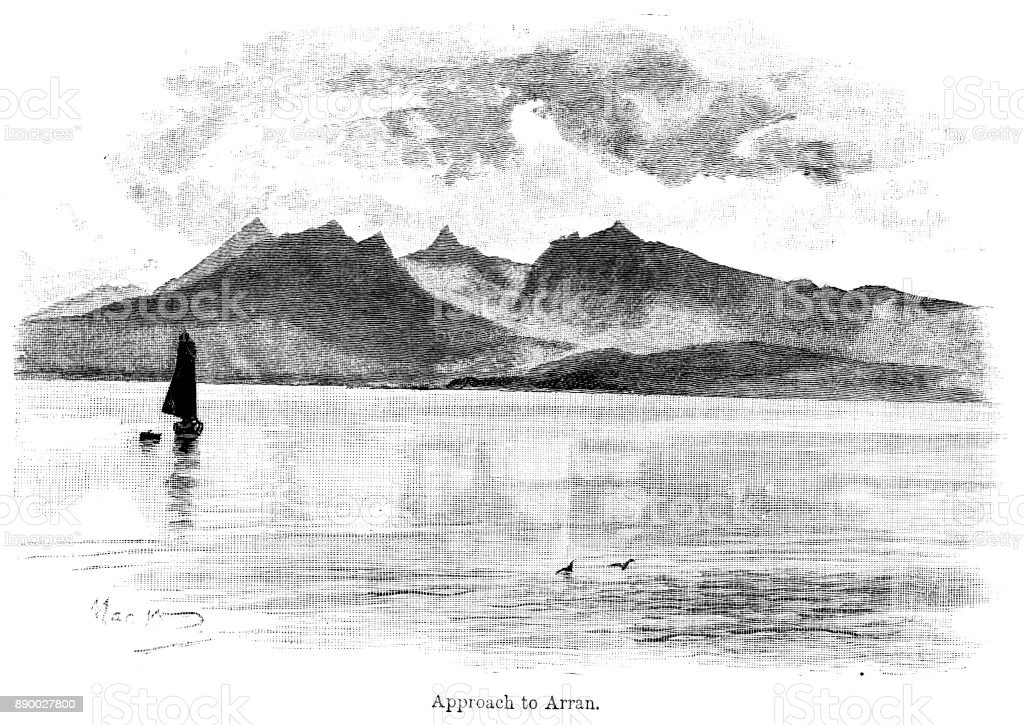 19th century engraving of 'Approach to Arran one of the Scottish islands; Victorian view across the waters to the mountains behind; 19th century Scottish travel 1890 vector art illustration