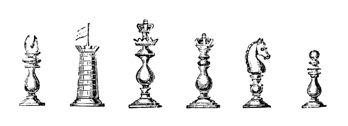 19th century engraving of chess pieces