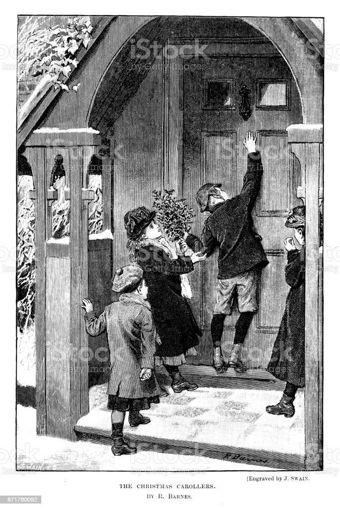 19 Jahrhundert Gravur Der Kinder The Weihnachten Weihnachtslied ...