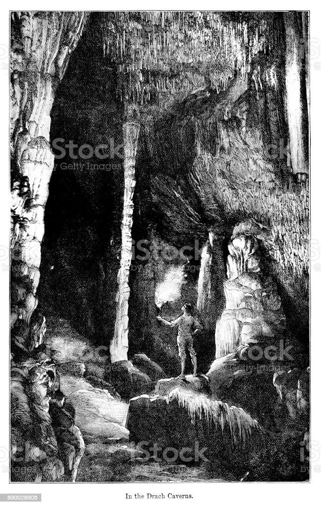 19th century engraving of 'In the Drachs Cavern' Majorca; Victorian exploration and a man with a flaming torch stood in a cave 1890 vector art illustration