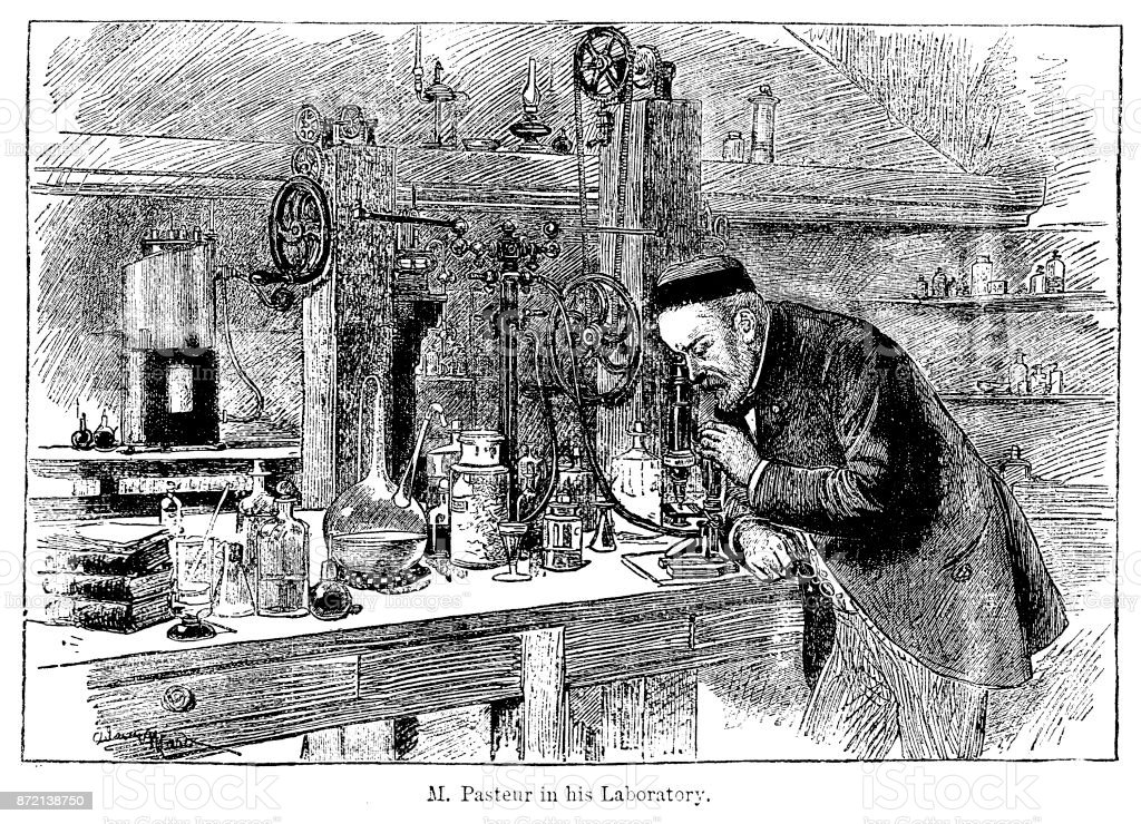 19th century engraving of Louis Pasteur at work in his laboratory; Victorian scientists and their discoveries 1890 vector art illustration