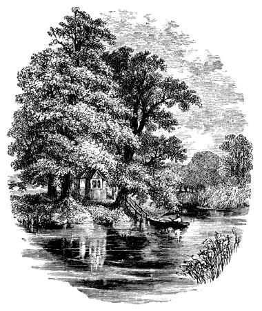 19th century engraving of Magna Carta Island, Berkshire, UK