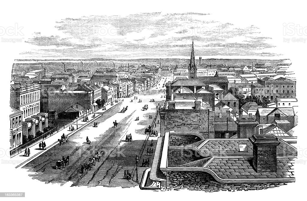 19th century engraving of Melbourne, Australia royalty-free stock vector art