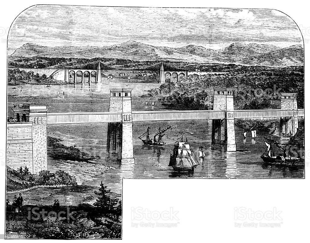 19th century engraving of Menai Bridge, Wales, UK vector art illustration