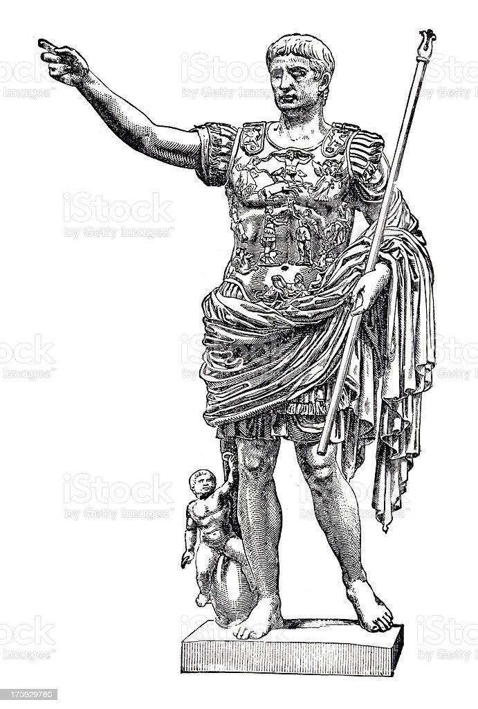 19th century engraving of roman emperor Augustus royalty-free stock vector art