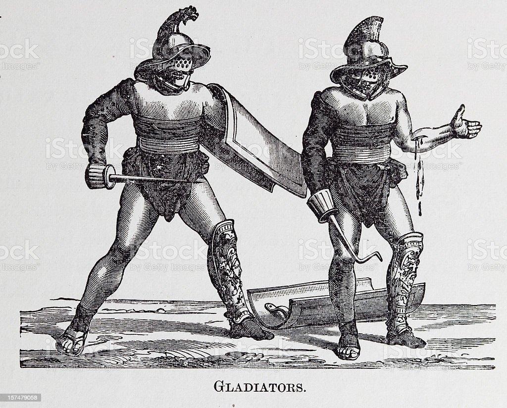 19th century engraving of roman gladiators vector art illustration