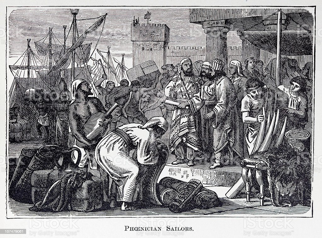 19th century engraving of roman market place vector art illustration