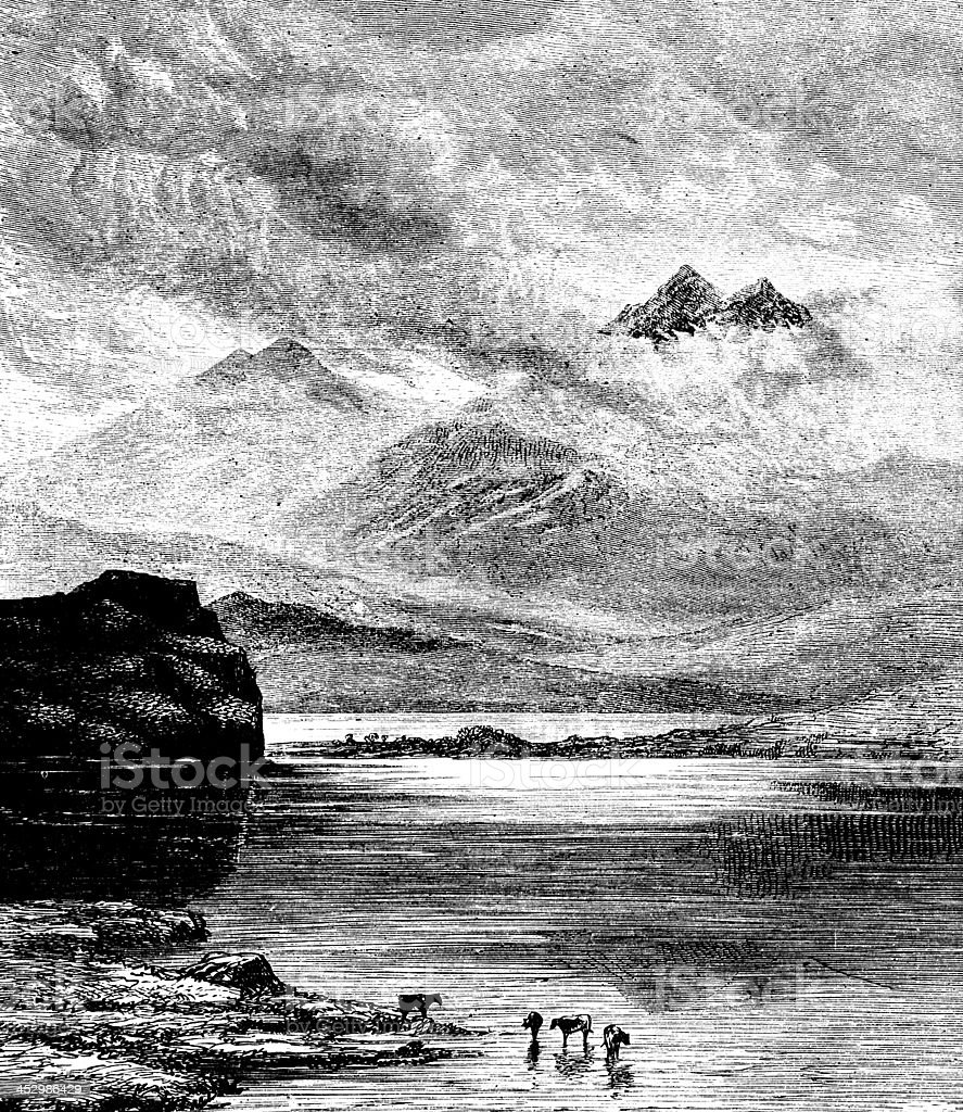 19th century engraving of Snowdonia, Wales, UK vector art illustration