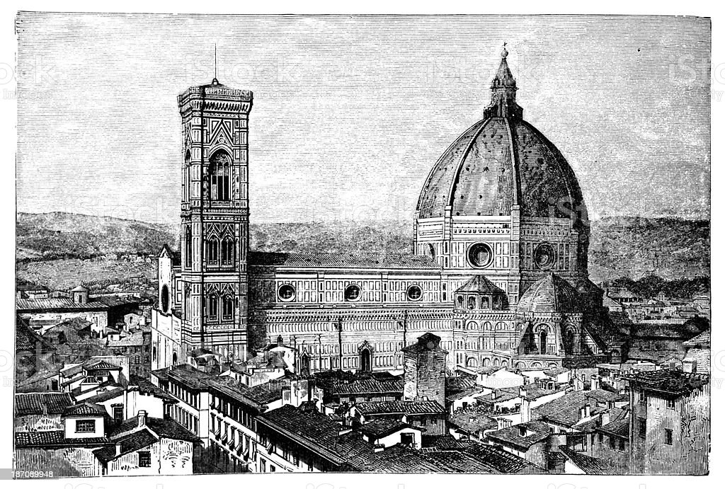 19th century engraving of the Duomo and Campanile, Florence, Ita vector art illustration