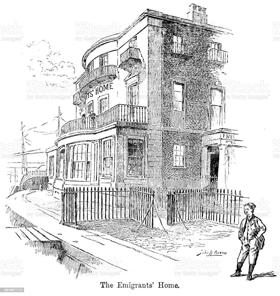 19th century engraving of the Emigrant's Home at Blackwall Docks on the River Thames London; Victorian emigration and travel 1890 vector art illustration