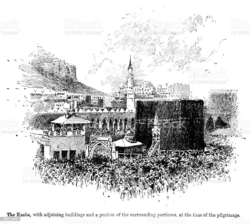 19th century engraving of 'The Kaaba with adjoining buildings and a portion of the surrounding porticos, at the time of the pilgrimage.' Mecca and Islamic religious service 1890 vector art illustration