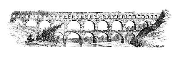 stockillustraties, clipart, cartoons en iconen met 19th century engraving of the pont du gard, france - pont du gard