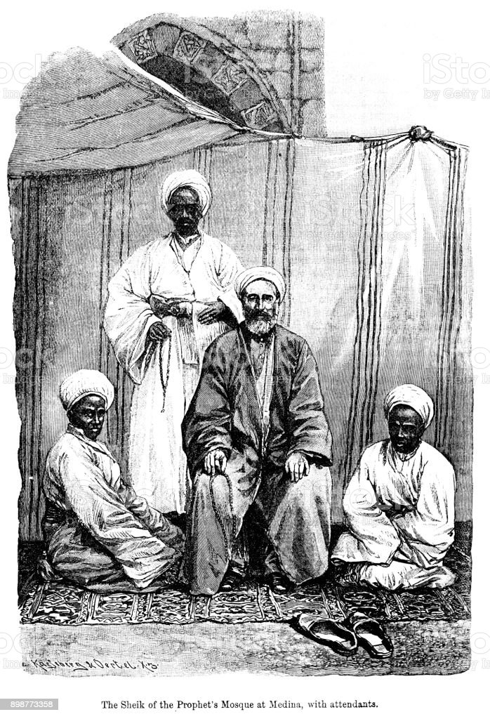 19th century engraving of 'The Sheik of the Prophet's Mosque at Medina, with attendants.' 19th century Islamic religious leaders 1890 vector art illustration