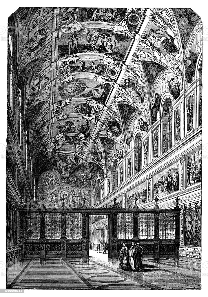19th century engraving of the Sistine Chapel vector art illustration