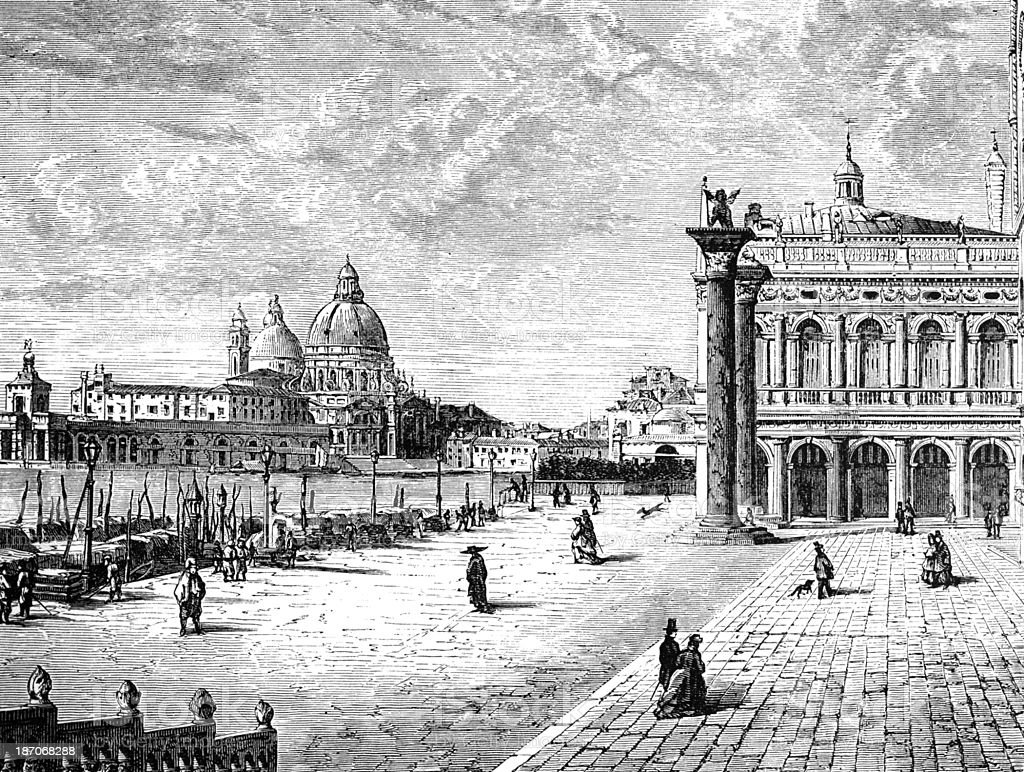 19th century engraving of Venice, Italy vector art illustration