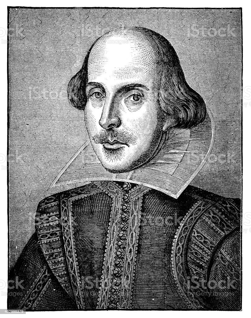 19th century engraving of William Shakespeare vector art illustration