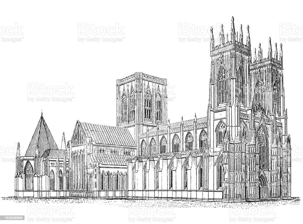 19th century engraving of Yorkminster Cathedral, York vector art illustration