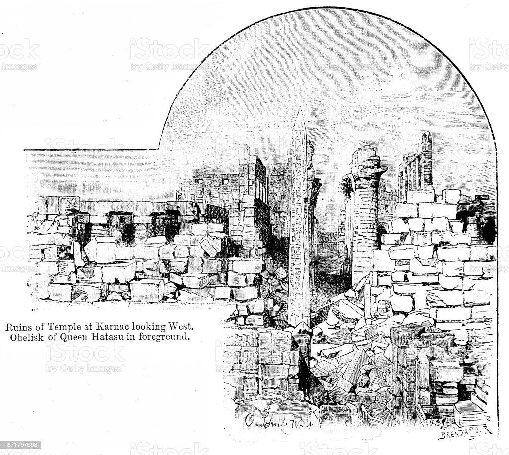 Siglo Xix Grabado Ofruins De Templo En Karnac Mirando Al Oeste ...