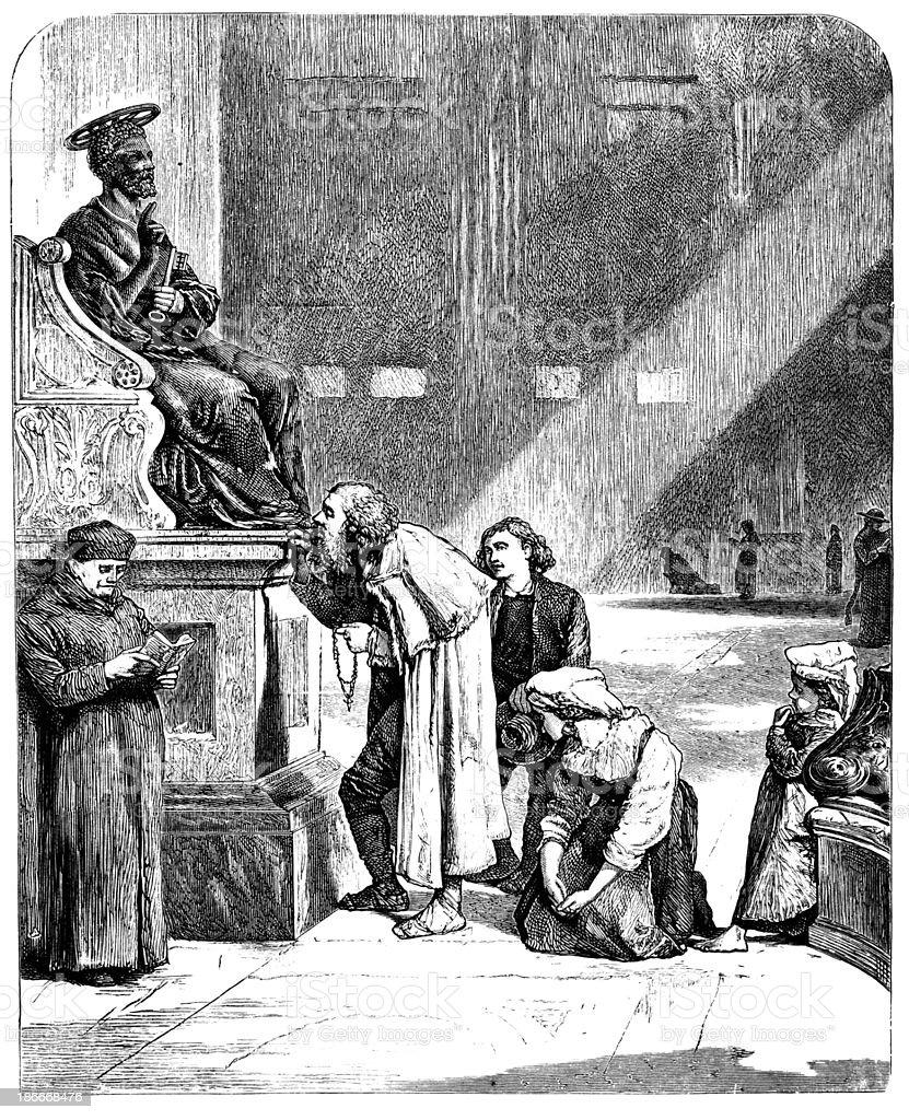 Século 19 engraving Estátua de São Pedro, no Vaticano - ilustração de arte em vetor