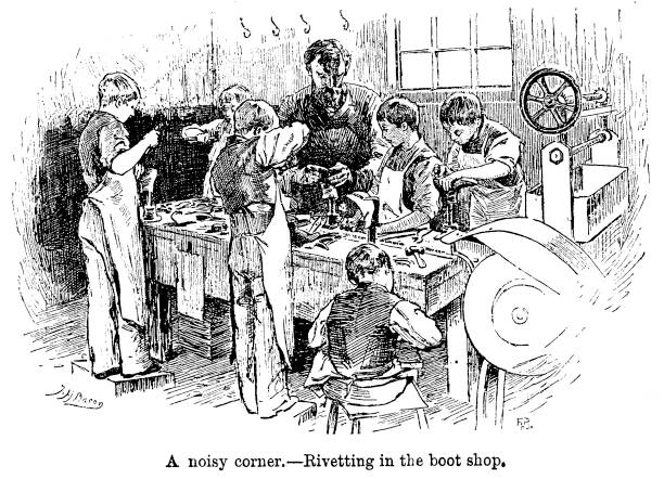 19th century engraving Victorian children and the workhouse Sutton districts School 1890  Artist John Henry Bacon vector art illustration